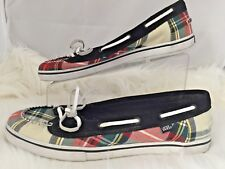 Vans Abby Women Red Black Plaid Moc Loafer Flats Boat Shoe Size US 10 EU 41