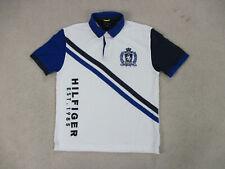 VINTAGE Tommy Hilfiger Polo Shirt Adult Large White Blue Crest Rugby Men 90s A9*