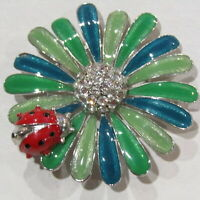 "60's Vintage Flower Power Brooch RETRO Enamel Ladybug Blue Green Rhinestone 2"""