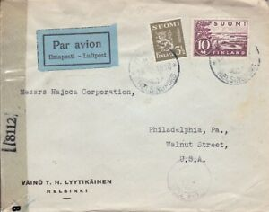 1945 Finland #176A,#205 on censored cover to US *d