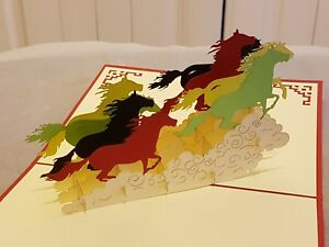 3D Pop up Horses Racing Card.( Birthday, Congrats, Thank you, Get well or any Oc