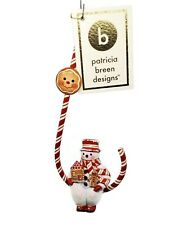 Patricia Breen Candied Snowman Gingerbread Christmas Holiday Tree Ornament Red