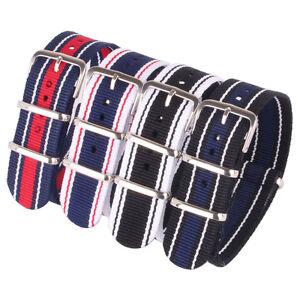 20mm Nylon White Stripe Cambo Watches Straps Wristwatch watchBand Buckle Cheap