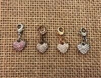 Origami Owl Pave Heart Dangle w/ Crystals ~ Pink, Rose Gold, Gold & Silver