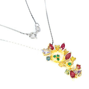Unheated Pear Tanzanite Ruby Sapphire Mop Cz 925 Sterling Silver Flower Necklace