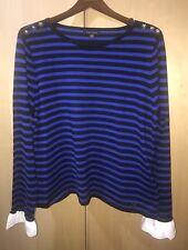 XL NWT TOMMY HILFIGER Women's Long Sleeve Striped Knit Top Sweater Ruffle Sleeve