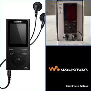 🆕 Sony NW-E394 Walkman Audio Player⚡️8GB Black Music Ear Buds Open Box Bundle