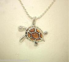 23.5mm Small Sterling Silver Genuine Hawaiian Inlaid Koa Wood Sea Turtle Pendant