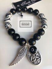 Black Agate & Zebra jasper bracelet angel Wing St Gerard - Fertility/Motherhood