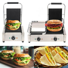 More details for 3.6kw sandwich toaster panini press health grill nonstick compact double grooved