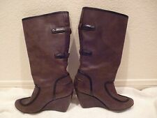 Balenciaga Wedge Boots Chocolate Brown Leather SZ 37/7/6.5