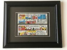 Framed 2 x BAZOOKA JOE wax comic strips offering free gift - ideal for Man Cave