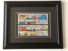 Framed 2 x BAZOOKA JOE wax comic strips offering free gift - ideal for Man Cave