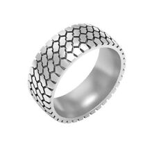 Tire Tread Wedding Band Ring, silver tire ring, mud tire ring TR1435