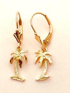 "14K Solid Rose Gold Hawaiian Palm Tree Earring 1-1/16""(27 mm) E1119-1"