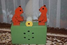 Old Handmade Europe Wind-Up Wooden Music Box Mechanical Bears with Saw