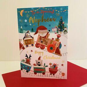 Words n Wishes Special Nephew Christmas Card Santa Express Train/GX231