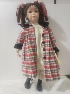 Beautiful 20 inch porcelain doll plaid house coat PJs brown curls super cute