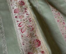 Vintage French Floral Stripe Satin Lisere Brocade Jacquard Fabric #1~Soft Green