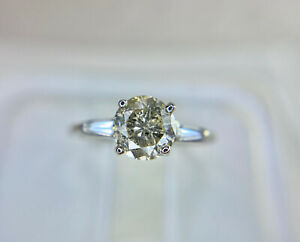 Vintage 14k White Gold Round Brilliant Diamond Baguette Engagement Ring 1 ct