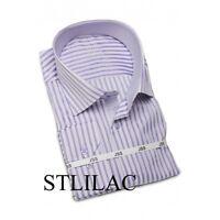 Mens Designer Italian Formal Slim Fit Dress Shirt Paisley Contrast Collar M L XL