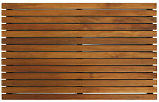 Bare Decor Zen Shower, Spa, Door Mat in Solid Teak Wood and Oiled Finish, 31x19
