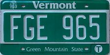 GENUINE Vermont Green Mountain State USA License Licence Number Plate FGE 965