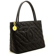 CHANEL Authentic Caviar Medallion Gold Hw Shoulder Bag Black Quilted Tote i21