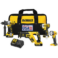 DeWALT DCK494P2 20-Volt 4-Tool Hammer Drill, Driver, Recip Saw and Light Combo