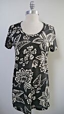 NEW ISABEL MARANT ETOILE dark gray ivory floral linen knit tee shirt top size M