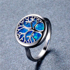 Fashion Silver blue round Artificial Opal life Tree Ring Valentine's Day Jewelry