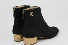 CHANEL Short Ankle Heel Boot Bootie Size 38.5