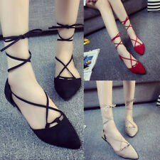 Fashion Womens Flats Lace Up Dolly Ballet Shoes Ladies Ballerina Pumps New.