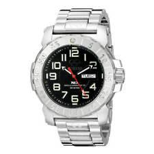 Reactor Men's Trident 2 Analog Display Quartz Silver Band Black Dial Watch 50001
