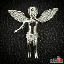 White Gold Finish .925 Silver Pendant Charm Flying Angel Hip Hop Style