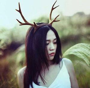 Antlers Brown Deer Horns Hair Band Headband Goth Cosplay Accessories Headdress
