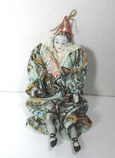 "Vintage Beautiful 9"" Porcelain Harlequin Jester w/ Ballerina Shoes Doll C. 80's"