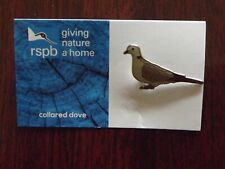 RSPB GNaH collared dove Metal Pin Badge on Blue FR Card