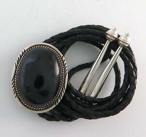 Classic Sterling Silver and Black Onyx Elegant Southwestern Bolo Tie