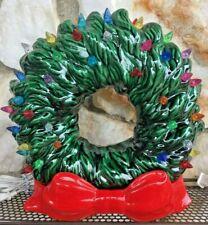 Vintage Mid Century Christmas Ceramic Light Up Wreath & Bow Works Colorful Bulbs