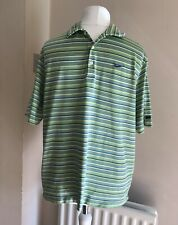 Tiger Woods Collection Mens Nike FITDRY Green Striped Golf Polo Shirt Sz L 42/44