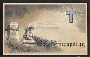 SYMPATHY & IN MEMORIAM EMBOSSED IMAGES, BLACK BORDER, SET OF 6 PC's 1907-20