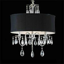 Modern Crystal Pendant Lamp Chorme Finish 3-Light Chandelier  With Black Shade