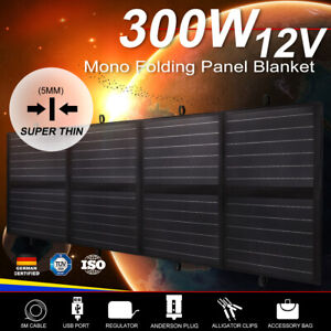 MOBI 300W 12V Folding Solar Panel Blanket Mono Completed Kit With Dual USB