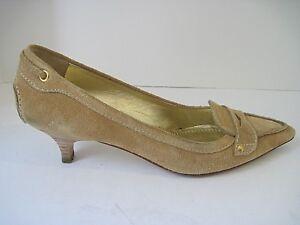 The Original Car Shoe Women's Tan Suede Pumps Kitten Heel Size 38