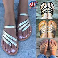 US Women Toe Ring Sandals Roman Flat Slipper Ladies Summer Slip On Beach Shoes