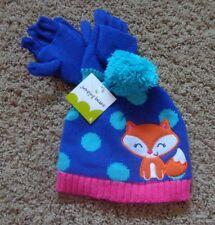 Jumping Beans girl's Nwt sz S knit Fox purple/pink/orange/blue hat & glove set