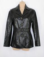 Black Leather ADVANTAGE Fitted Biker Blazer Women's Coat Jacket Size UK10