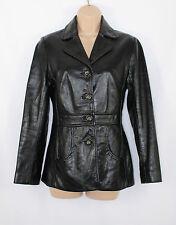 Cuir Noir avantage Ajustée Motard Blazer Femme Manteau Veste Taille UK10