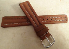 New Brown Padded Genuine Leather 18mm Watch Band High Contrast White Stitching